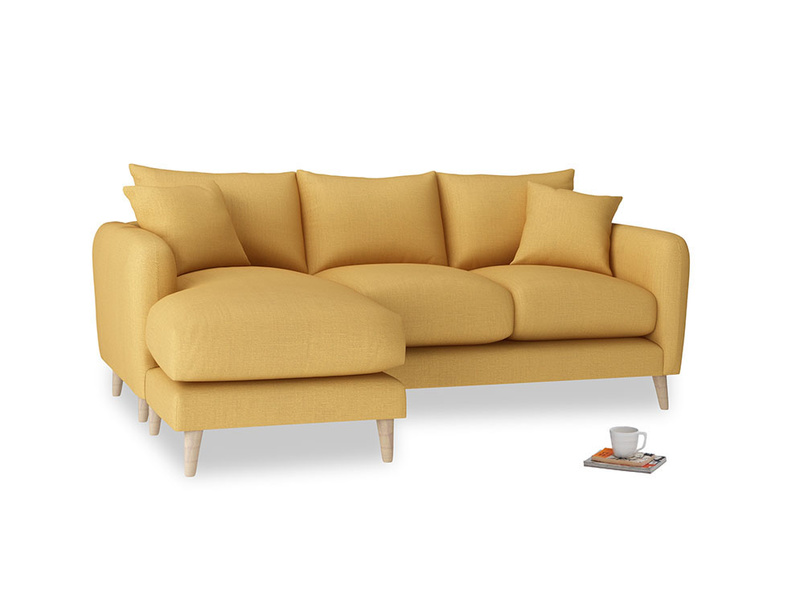 Large left hand Squishmeister Chaise Sofa in Dorset Yellow Clever Linen