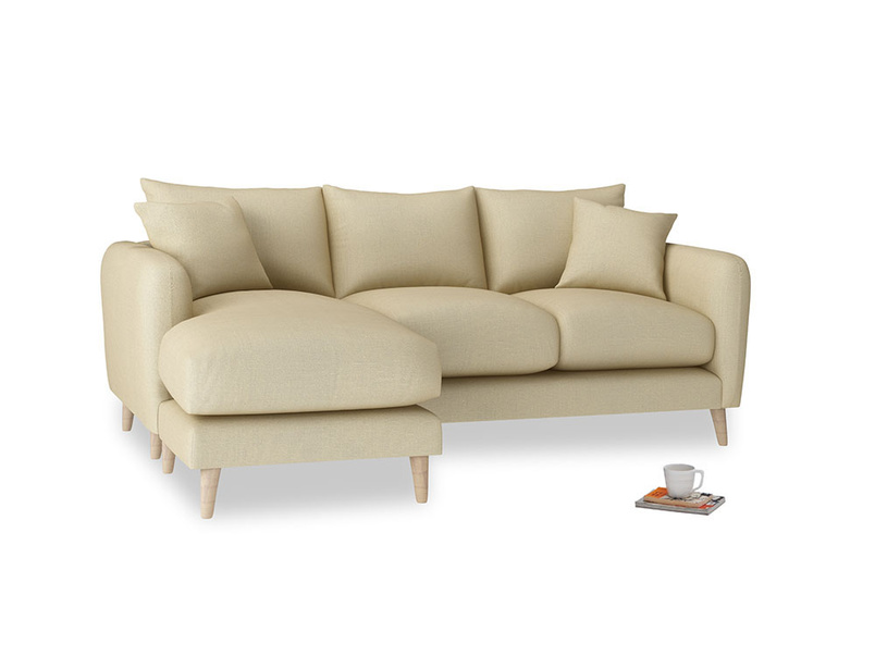 Large left hand Squishmeister Chaise Sofa in Parchment Clever Linen