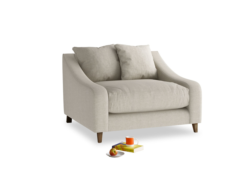 Oscar Love seat in Thatch house fabric