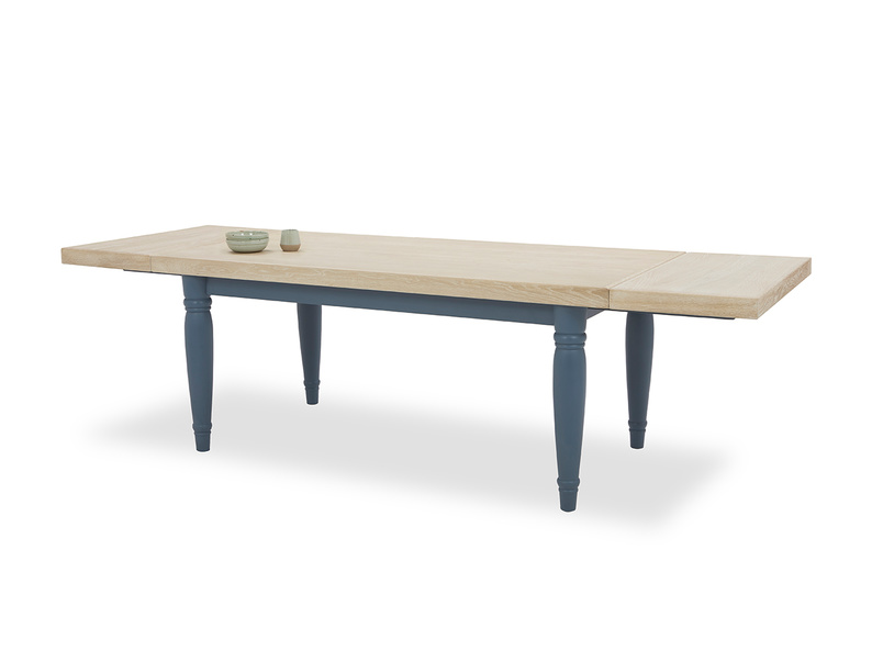 Scullery kitchen table in blue extended with prop