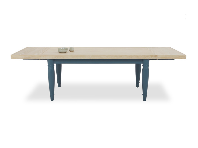 Scullery kitchen table in blue front view open leaf with prop
