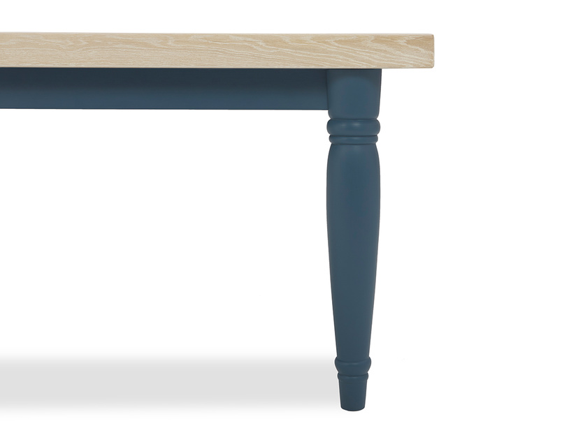 Scullery kitchen table in blue leg detail