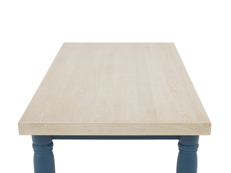Scullery oak top dining table in blue top detail