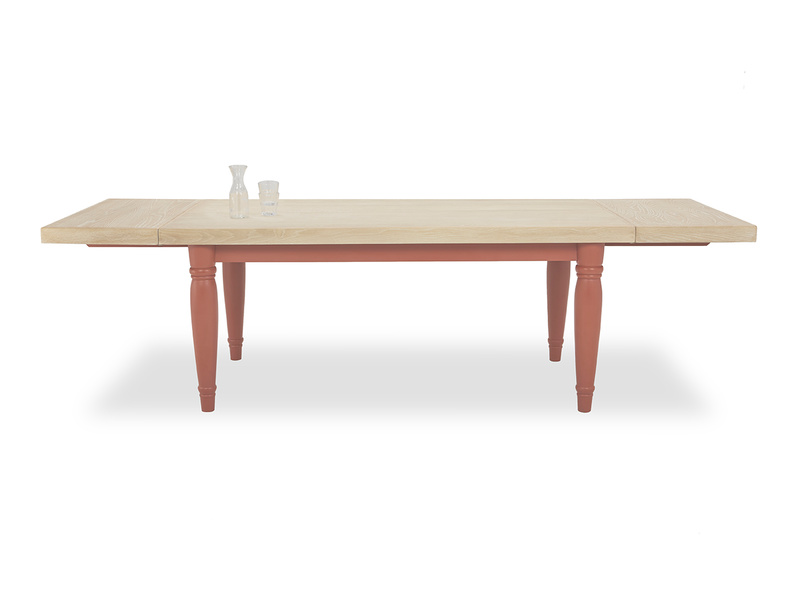 Scullery farmhouse kitchen table in red front detail with prop