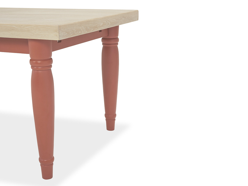 Scullery oak top dining table in red leg detail