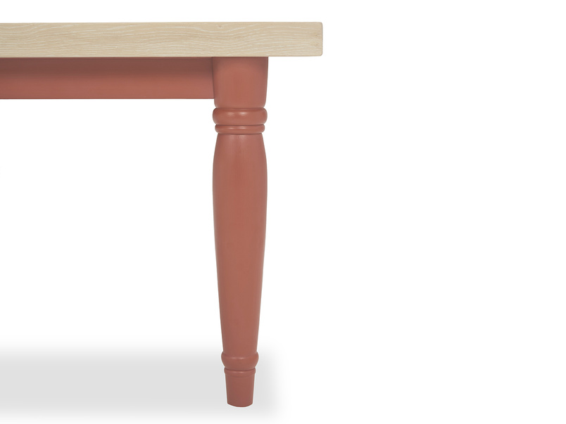 Scullery painted kitchen table in red leg detail