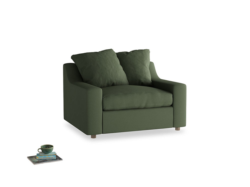 Cloud love seat sofa bed in Forest Green Clever Linen