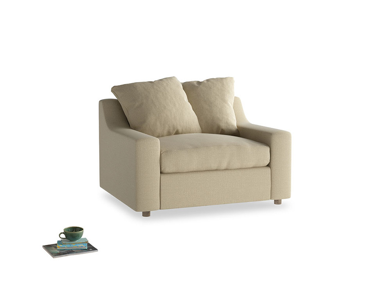 Cloud love seat sofa bed in Hopsack Bamboo Softie