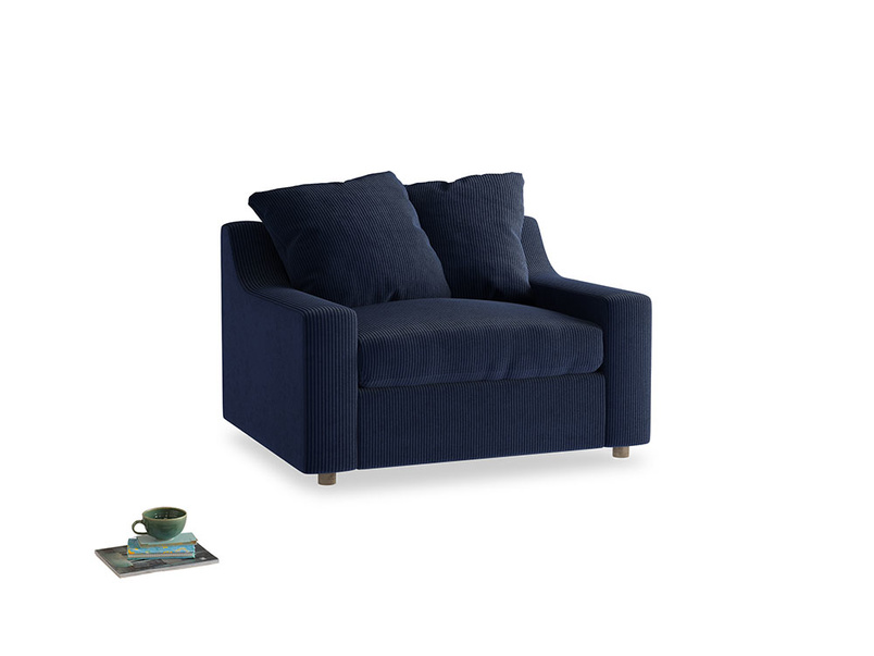 Cloud love seat sofa bed in Indian Blue Clever Cord