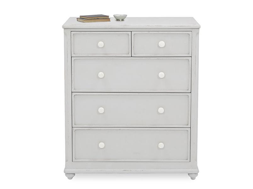 Popinjay chest of drawers front detail with prop
