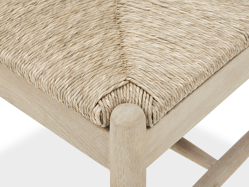 Hobnob rush weave dining chair in natural seat detail