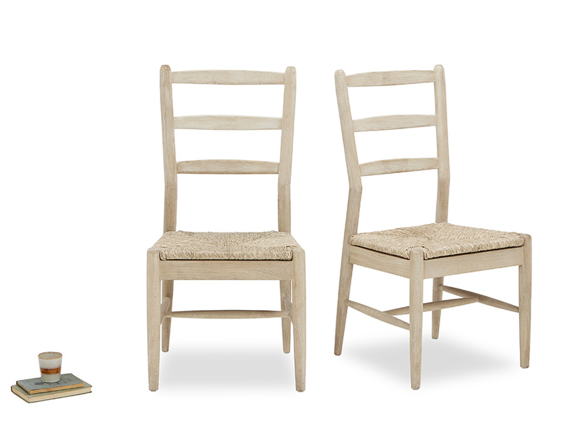 Hobnob rustic dining chair in natural pair with prop