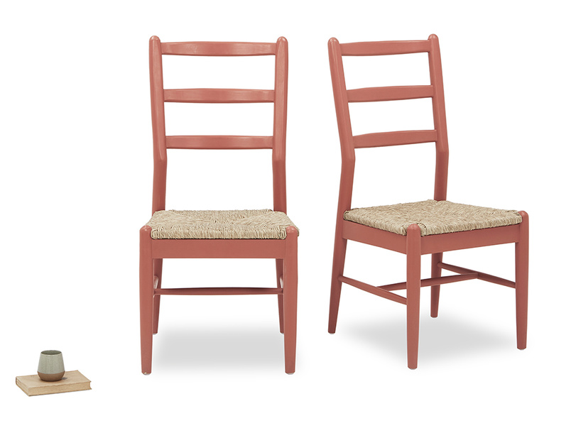 Hobnob rust rush weave dining chair pair with prop