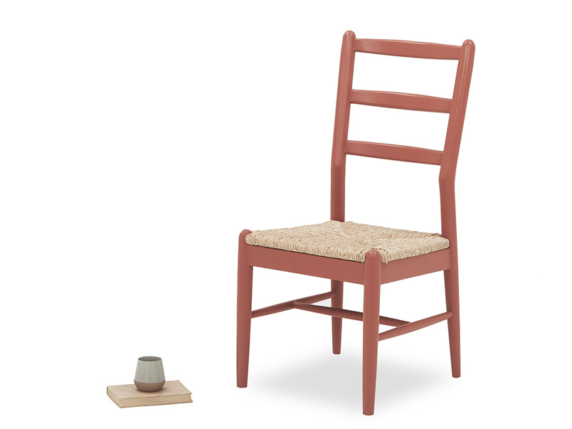 Hobnob rustic red farmhouse dining chair angled front with prop