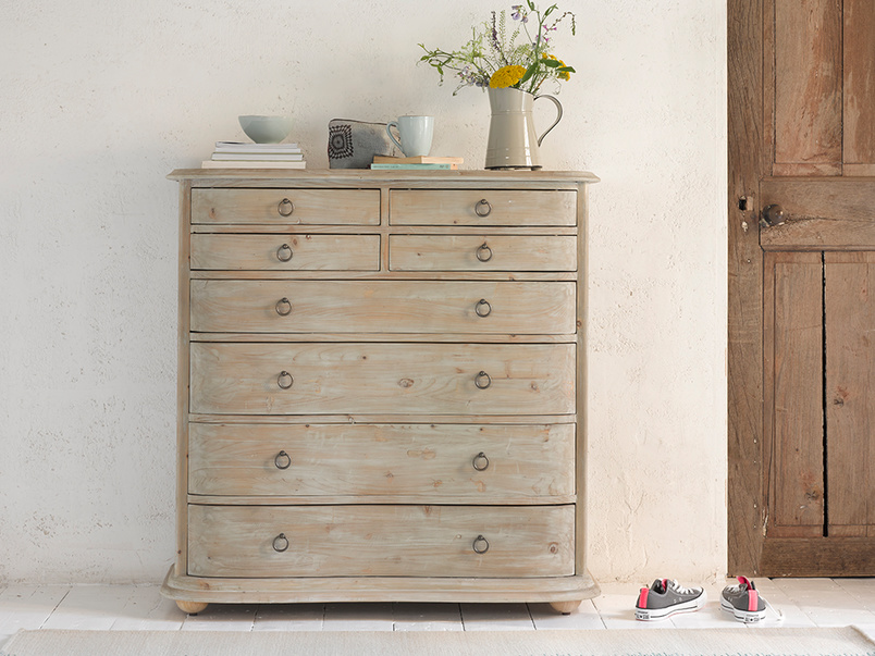 Solid wooden Aurelie French bedroom chest of drawers in reclaimed fir
