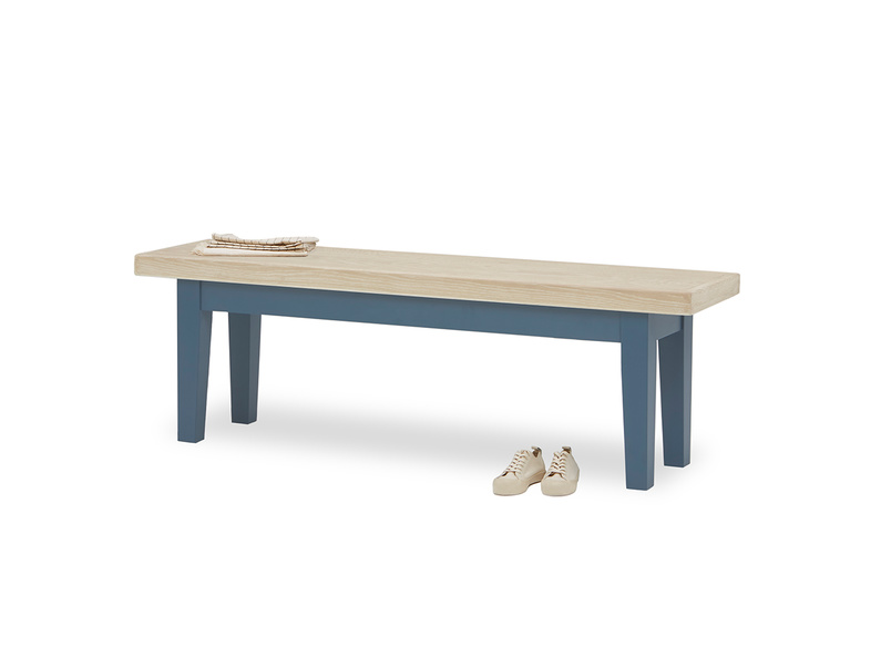 Plonk in heritage blue kitchen dining bench front view with prop