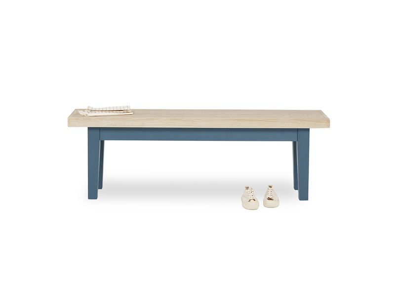 Plonk in heritage blue kitchen bench front view with prop