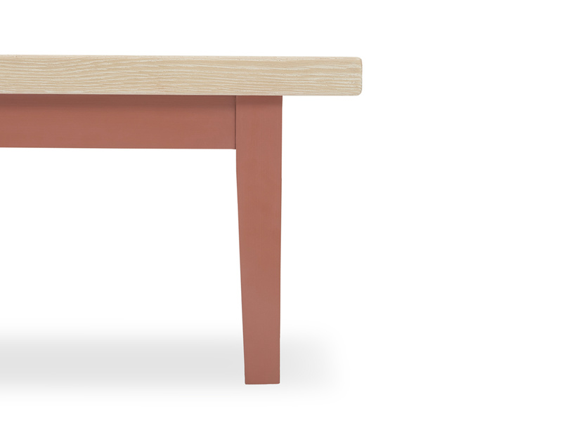 Plonk in earthy red kitchen bench seating leg detail
