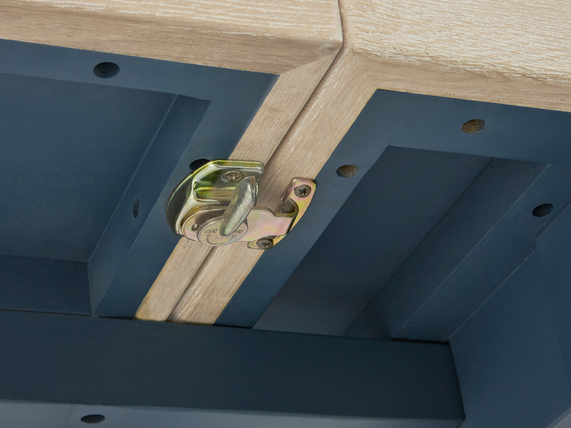 Pantry in heritage blue kitchen table lock detail