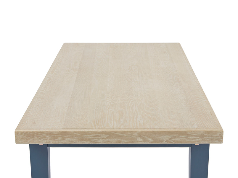Pantry in heritage blue oak top dining table top detail