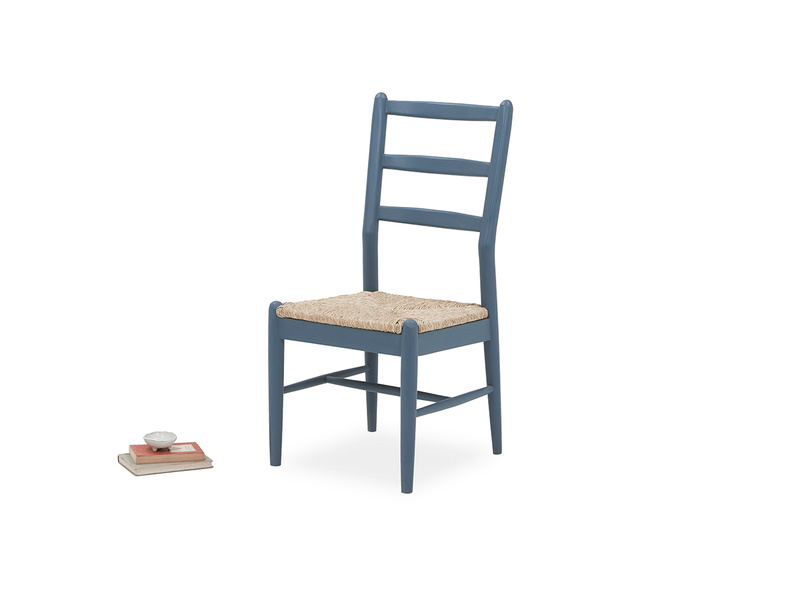 Hobnob in heritage blue curved back dining chair with prop