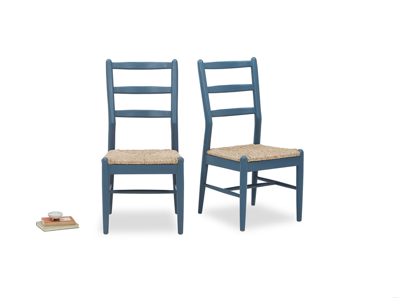 Hobnob in heritage blue dining chair pair with prop
