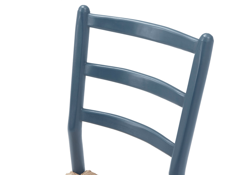 Hobnob in heritage blue farmhouse dining chair back detail