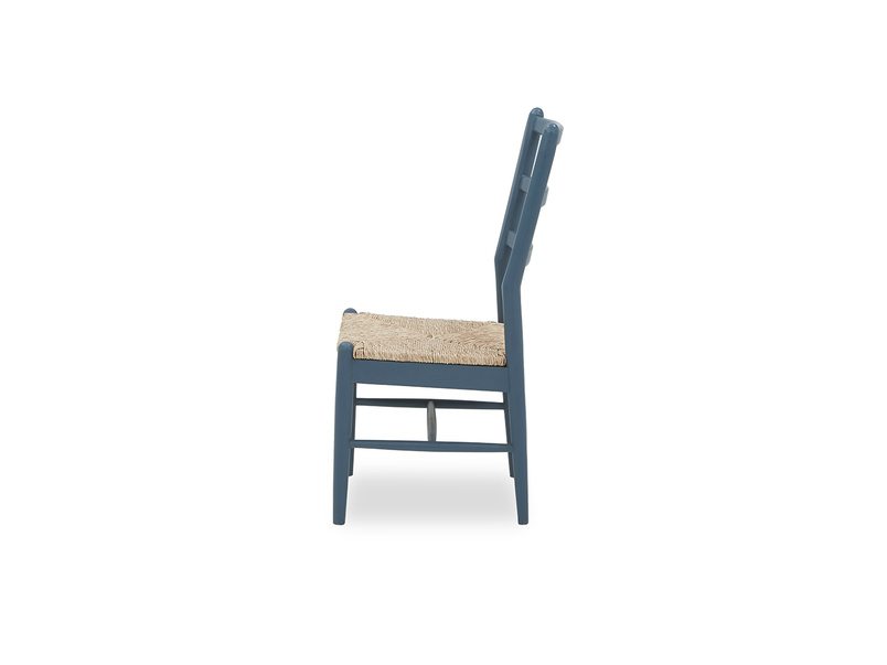 Hobnob in heritage blue farmhouse dining chair side detail