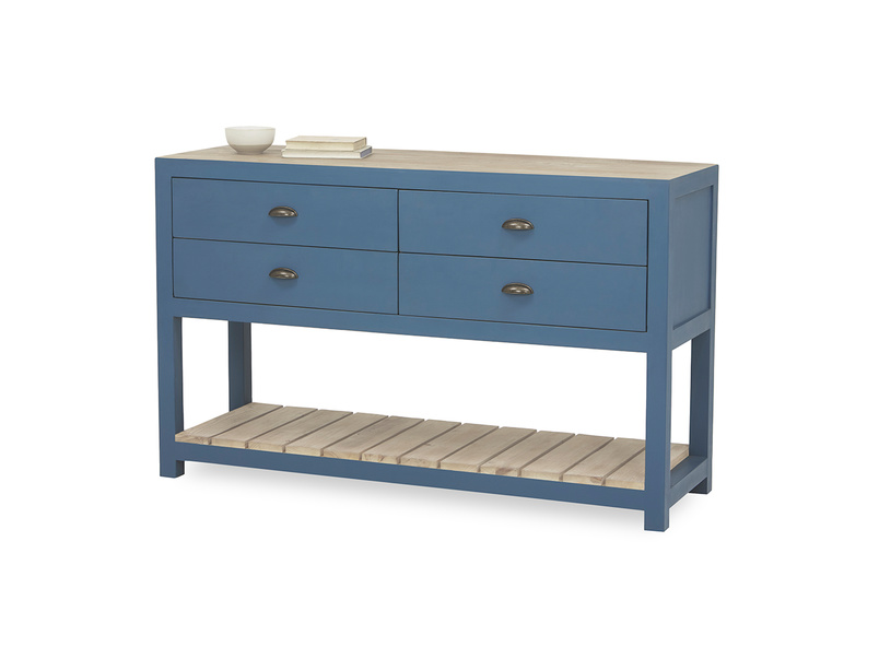 Provender painted wood sideboard in blue front detail with prop