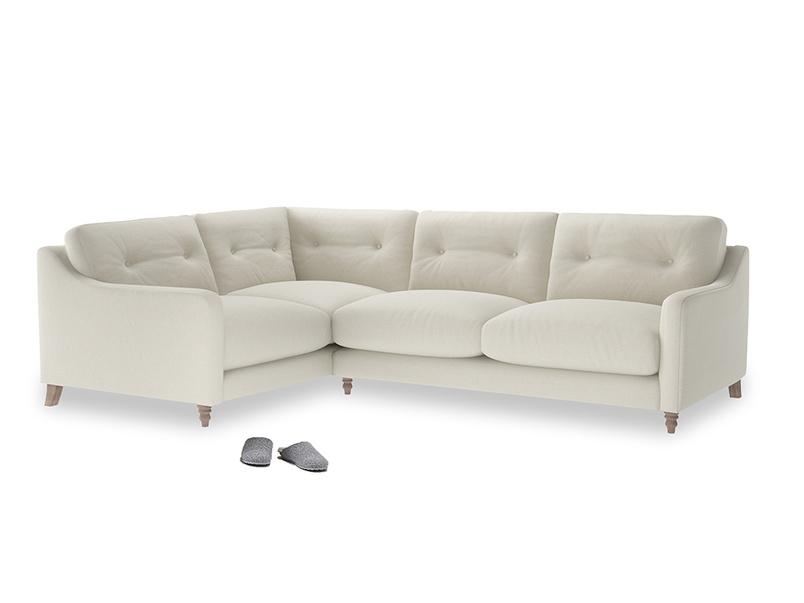 Large Left Hand Slim Jim Corner Sofa in Oat brushed cotton