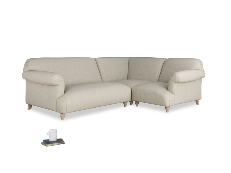 Large right hand Soufflé Modular Corner Sofa in Thatch house fabric with both arms
