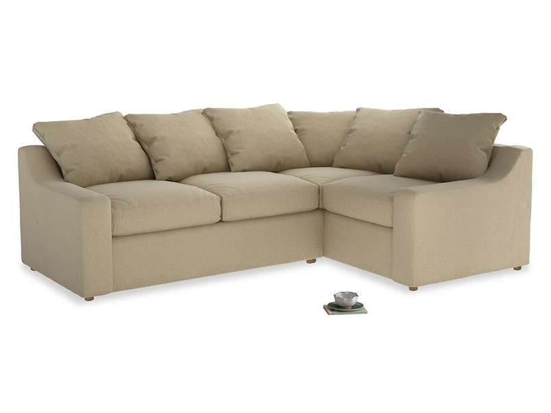 Large Right Hand Cloud Corner Sofa in Hopsack Bamboo Softie