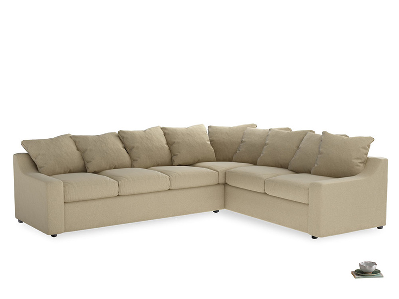 Xl Right Hand Cloud Corner Sofa in Hopsack Bamboo Softie