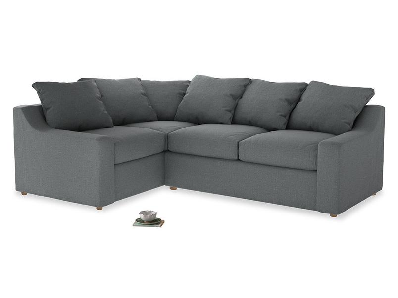 Large Left Hand Cloud Corner Sofa in Cornish Grey Bamboo Softie