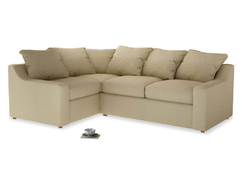 Large Left Hand Cloud Corner Sofa in Parchment Clever Linen