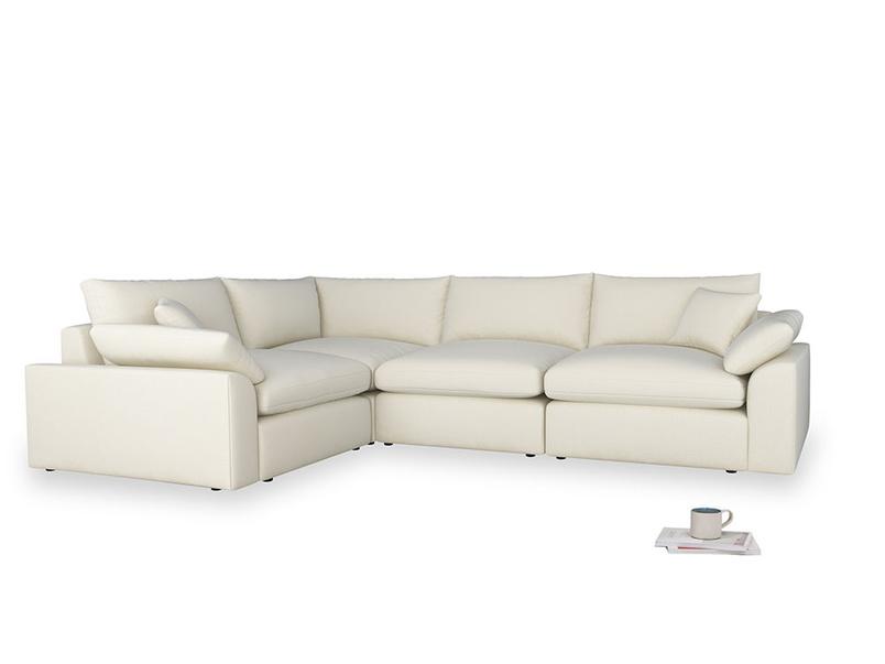 Large left hand Cuddlemuffin Modular Corner Sofa in Alabaster Bamboo Softie
