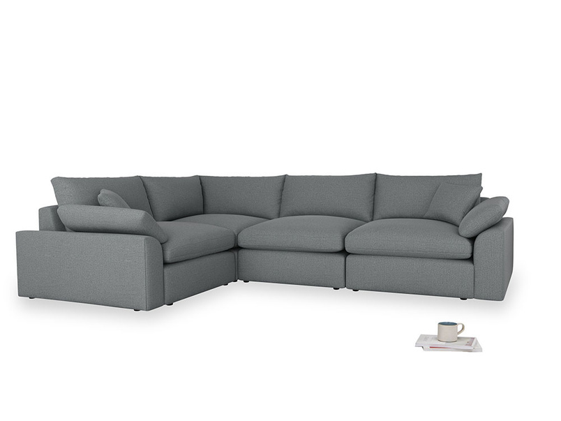 Large left hand Cuddlemuffin Modular Corner Sofa in Cornish Grey Bamboo Softie