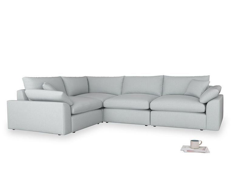 Large left hand Cuddlemuffin Modular Corner Sofa in Gull Grey Bamboo Softie