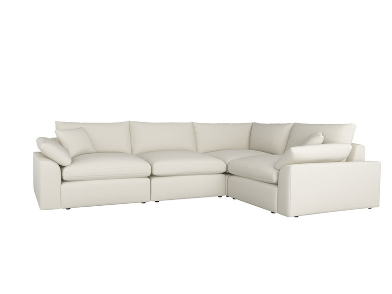 Large left hand Cuddlemuffin Modular Corner Sofa in Oat brushed cotton