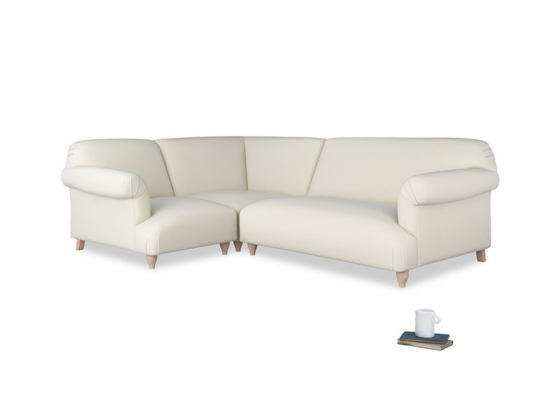 Large left hand Soufflé Modular Corner Sofa in Alabaster Bamboo Softie with both arms