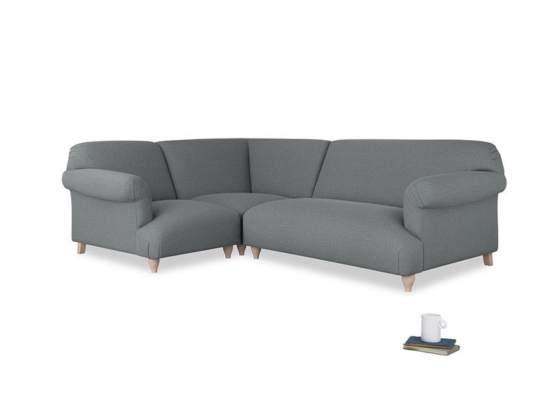 Large left hand Soufflé Modular Corner Sofa in Cornish Grey Bamboo Softie with both arms