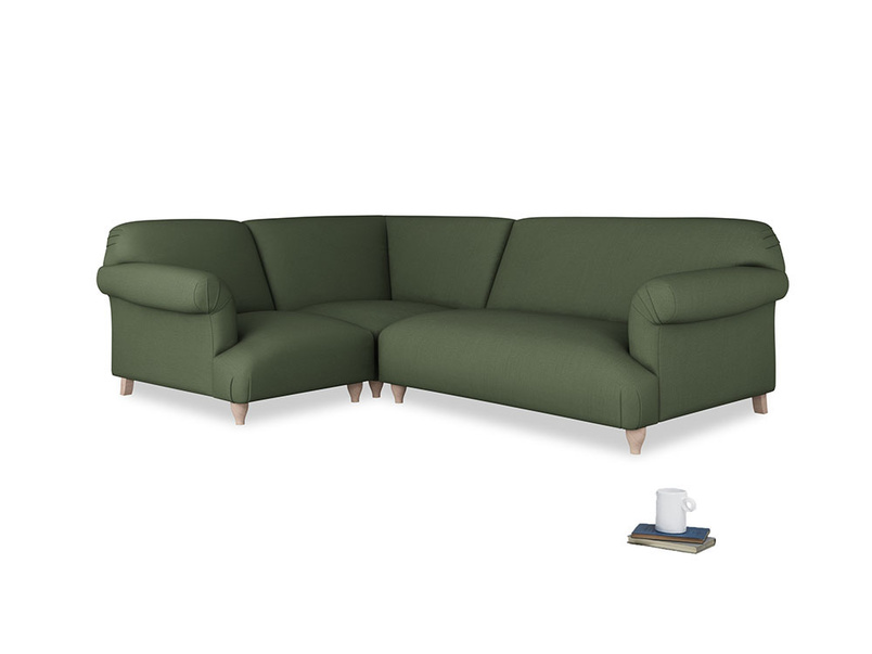Large left hand Soufflé Modular Corner Sofa in Forest Green Clever Linen with both arms