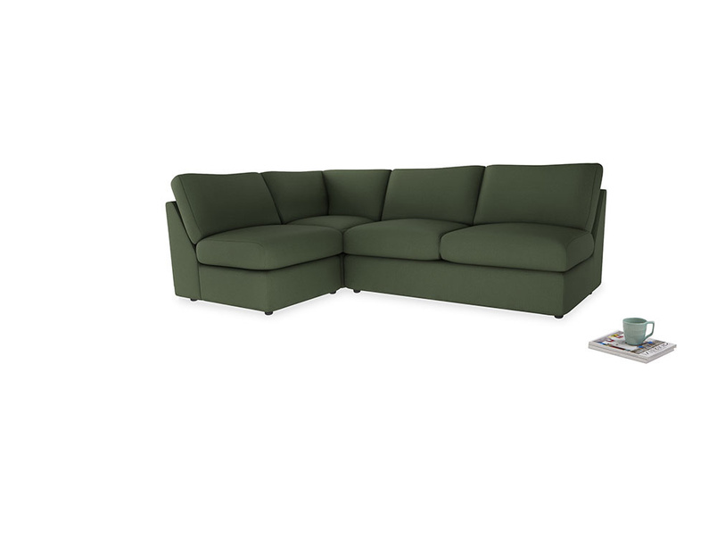 Large left hand Chatnap modular corner storage sofa in Forest Green Clever Linen