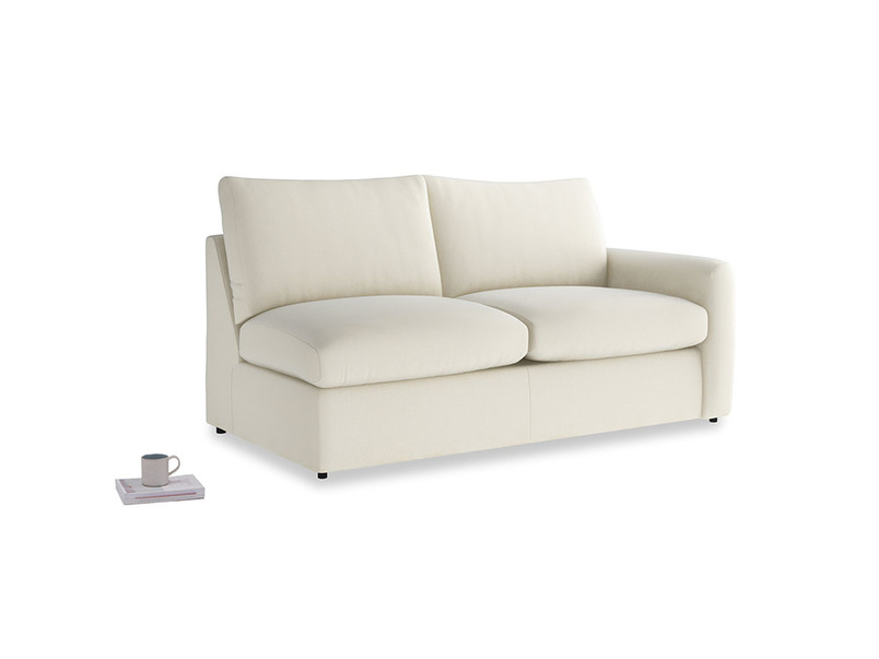 Chatnap Sofa Bed in Alabaster Bamboo Softie with a right arm