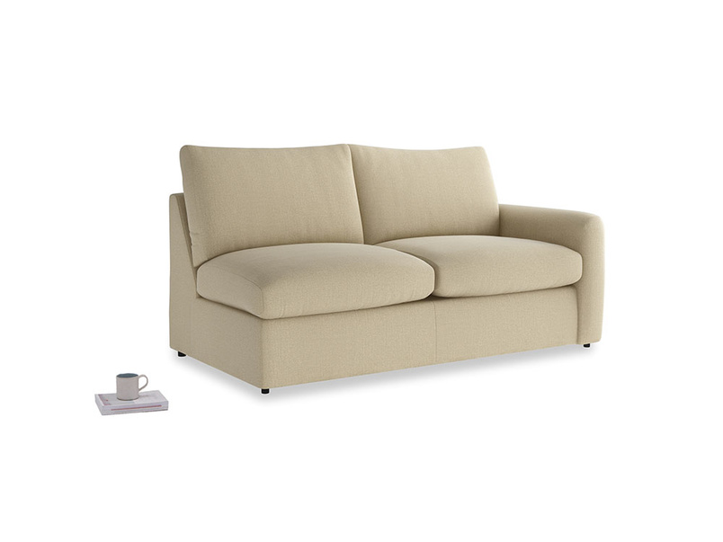 Chatnap Sofa Bed in Hopsack Bamboo Softie with a right arm