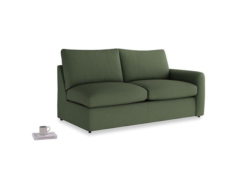 Chatnap Sofa Bed in Forest Green Clever Linen with a right arm