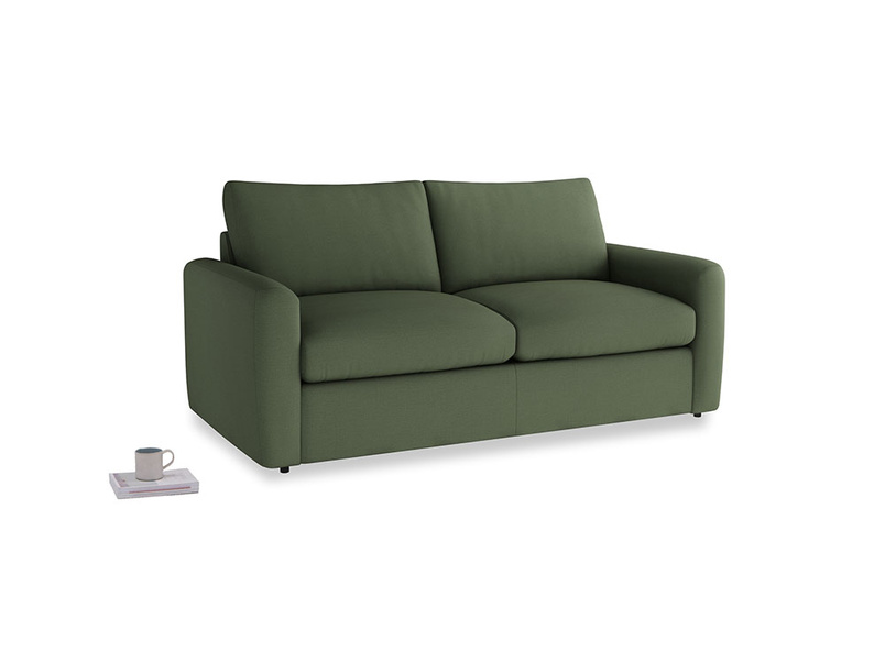 Chatnap Sofa Bed in Forest Green Clever Linen with both arms