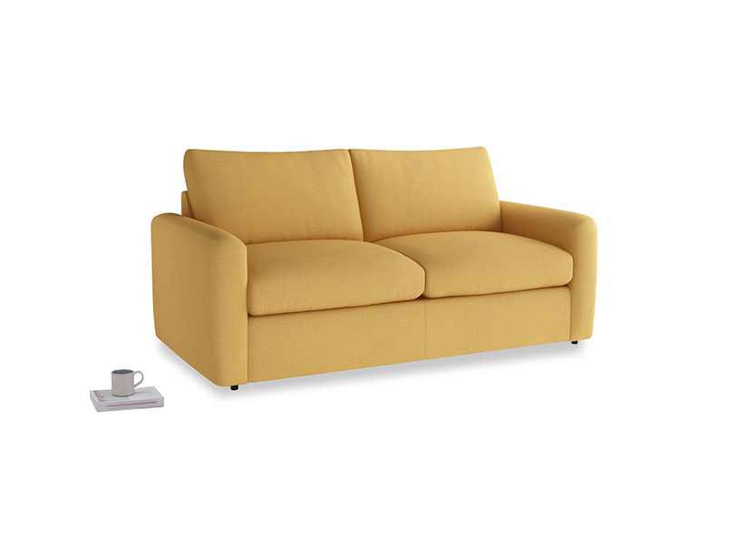 Chatnap Storage Sofa in Dorset Yellow Clever Linen with both arms