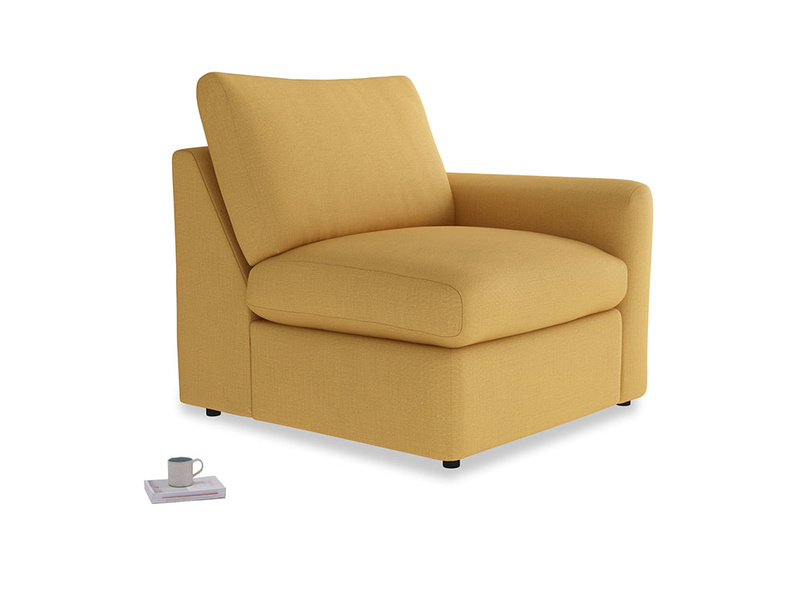 Chatnap Storage Single Seat in Dorset Yellow Clever Linen with a right arm