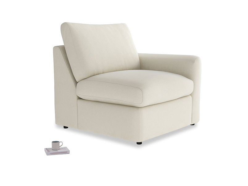 Chatnap Storage Single Seat in Alabaster Bamboo Softie with a right arm